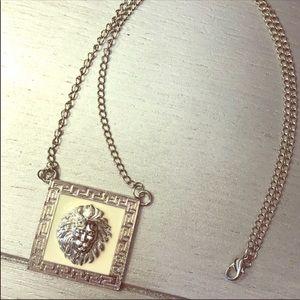 Xena White Lion: Head Leo Pendant Silver Necklace